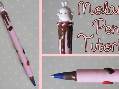 Molang Clay Pen Tutorial: Strawberries & Chocolate Themed: Polymer Clay.