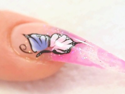 One Stroke Butterflies on Marbleized Acrylic Nail Design Tutorial Video by Naio Nails