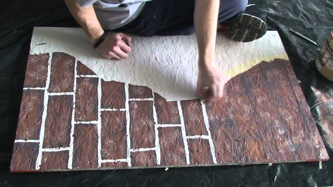Painting fake brick and plaster walls