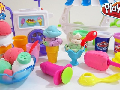 Play-Doh Sweet Shoppe Ice Cream Sundae Cart Playset vs. Moon Dough Ice Cream Set!