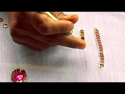 AARI. TAMBOUR.MAGGAM EMBROIDERY: how to sew a Sequin or chumki in a fabric with a aari needle