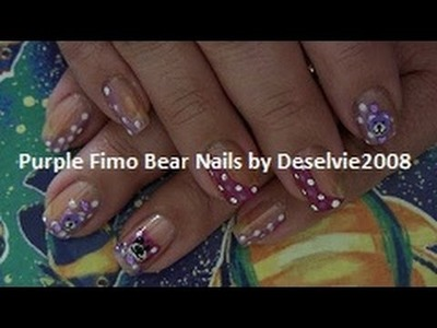 CLOSED -- Nail Art Using Fimo and other Nail Deco: Purple Bear