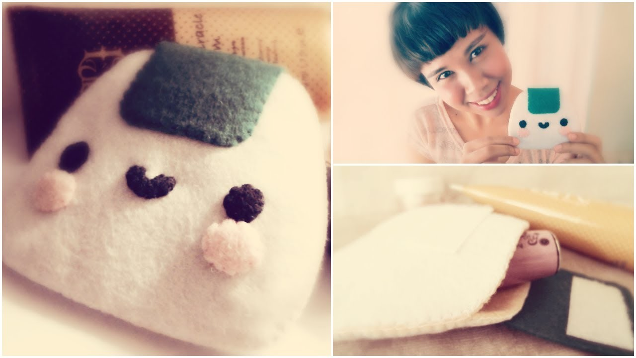 How To Make A Kawaii Onigiri Make Up Pouch From Felt Tutorial