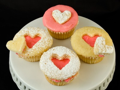 How to Make Valentine's Day Cupcakes. Heart Cut Out Cupcakes by Cookies Cupcakes and Cardio