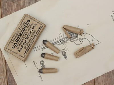 Making paper cartridge for percussion revolver - combustible envelope cartridge