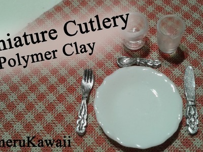 Miniature Cutlery - polymer clay knife, spoon, and, fork in 1:12 scale