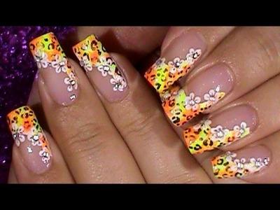 Neon Leopard Spring Flower Nails