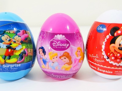 3 Disney Super Surprise Eggs Unwrapping with Mickey Mouse, Minnie Mouse, and Disney Princesses!