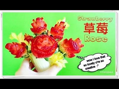 Art In Strawberry Rose Flower | Fruit Vegetable Carving Garnish | Fruit Decoration
