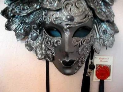 Black Custom Paper Mache Venetian Masquerade Mask
