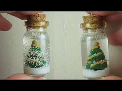 Christmas Tree Snowglobe.Bottle Charm; Polymer Clay Christmas Tutorial.