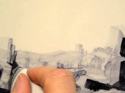 Copic marker sketching on tracing paper