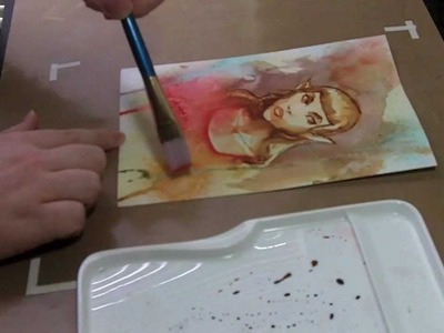 Distress Ink drawing and painting illustration demo