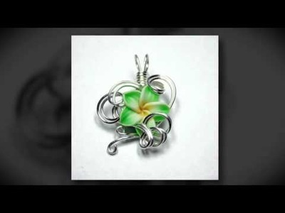 Etsy - Wire Wrap Jewelry - Tropical Polymer Clay Plumeria Flower Perfume Pendants and Jewelry