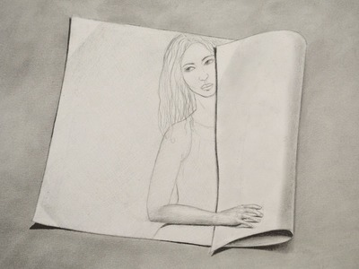 How to Draw a Girl on a Rolled Paper - 3D