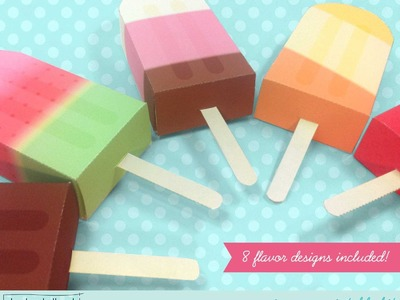 Make a paper ice pop - popsicle - gift card and favor box