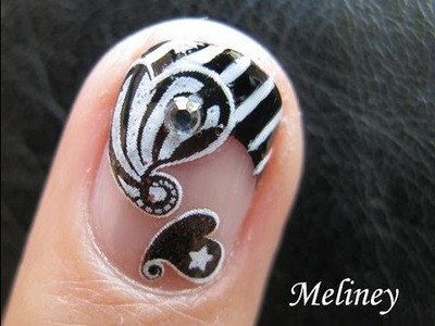 Nail Art Design Black & White Masquerade Ball Party Valentine's day Monochrome Heart Nail Sticker