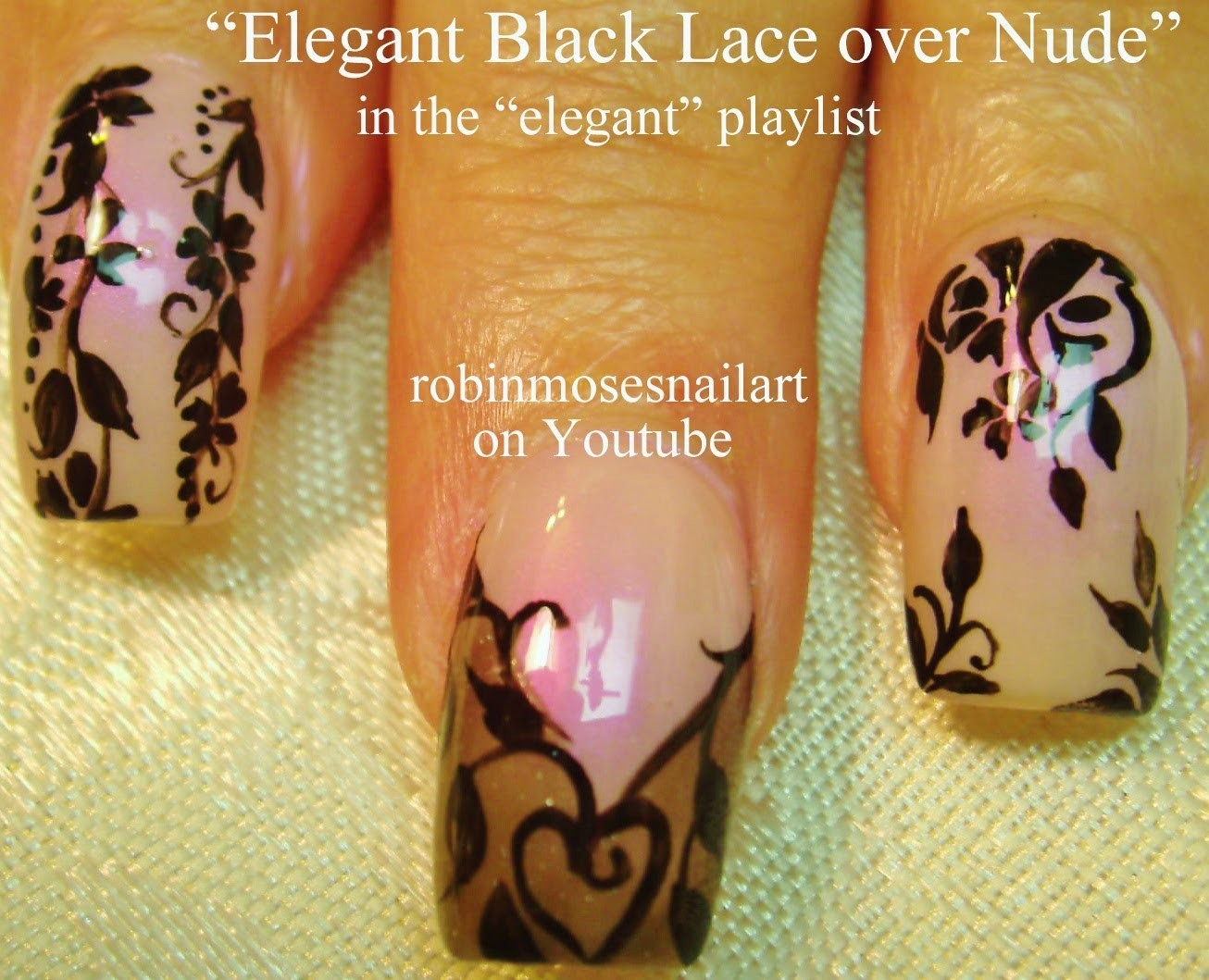 Nail Art Tutorial | DIY Black Lace Nails | Easy Flower Nail Design