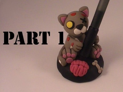 Polymer Clay Zombie Kitty Pen Holder (Part 1)