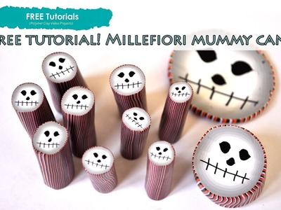 PolyPediaOnline TV - How to Create Polymer Clay Halloween Mummy Face Millefiori Cane