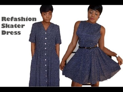 Refashion  An Old Vintage Dress To A Cut Out Skater Dress (SEWING)