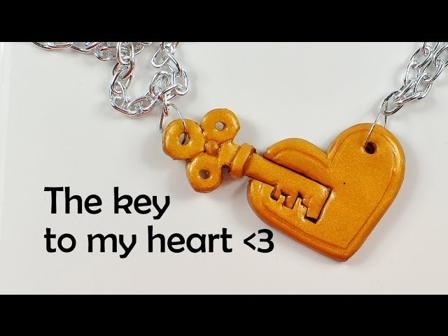The key to my heart - cute and very simple romantic charm - polymer clay TUTORIAL