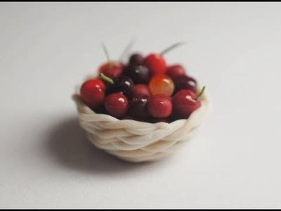 Basket of Cherries Tutorial, Miniature Food Tutorial, Polymer Clay Tutorial