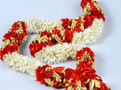 How To Make A Garland:Easy Garlands Making Tutorial With Sartin Ribbons.Flower