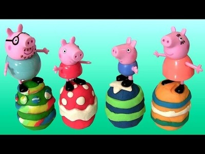 Play Doh Easter Eggs Peppa Pig Tutorial how-to Make Peppa Pig Family Easter Eggs with Playdough