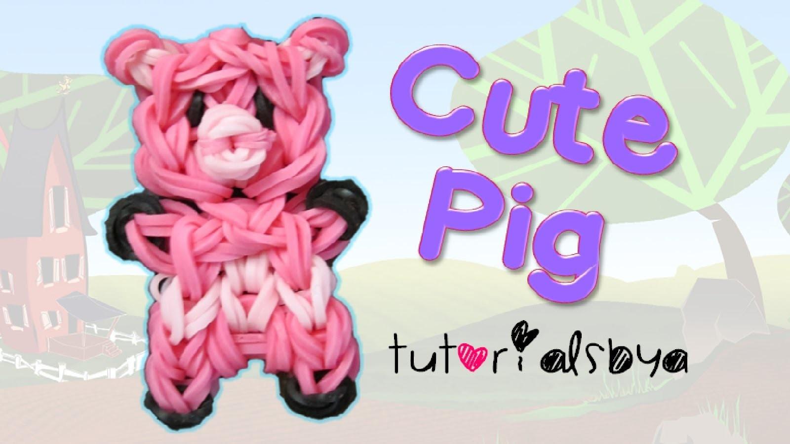 Cute Pig Charm.Mini Figurine Rainbow Loom Tutorial