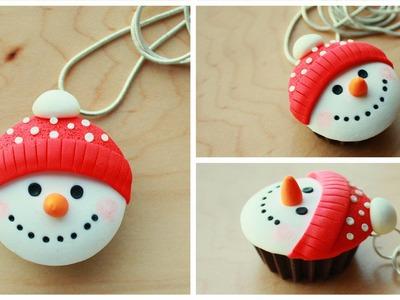 Polymer clay Snowman Cupcake TUTORIAL