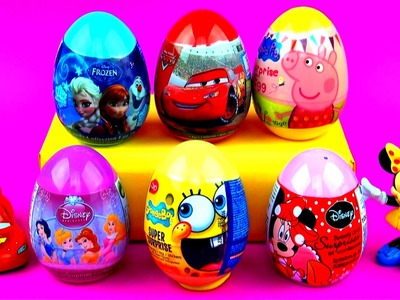 Surprise Eggs! Disney Frozen Peppa Pig Cars 2 Minnie Mouse Spongebob Disney Princess Toys FluffyJet