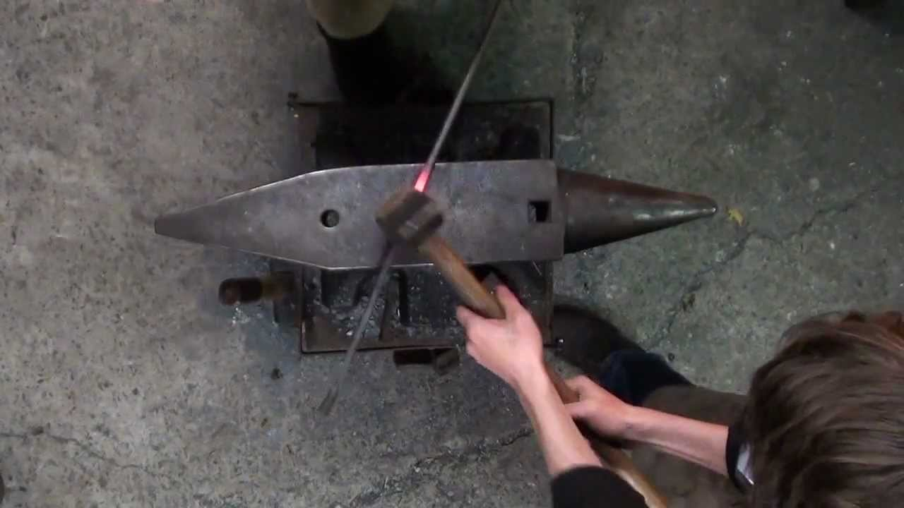 Forging a small candle holder, featuring my friend Benjamin.