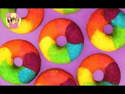 RAINBOW DONUTS - How to make rainbow cake doughnuts the easy way - yummy
