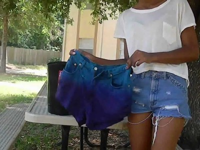 D.I.Y. Two Toned Dyed Denim Shorts