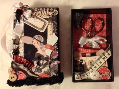 G45 Couture  mini album book match box and travel sewing kit math box