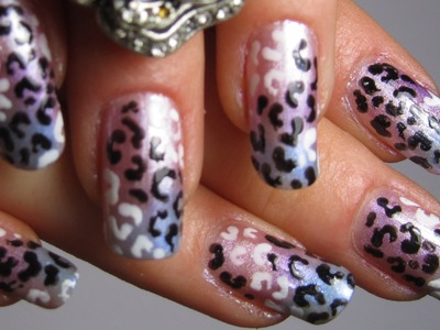 Gradient Leopard Print Nails for Valentines Day in Pink, Purple and Violet Design Nail Art Tutorial