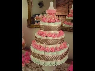 How to Make a Proffesional Diaper Cake on a budget ♥for a girl♥