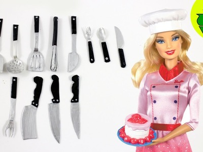 How to Make Doll Realistic Kitchen Utensils. Cutlery - Spoons, Forks, Knives, Spatula,