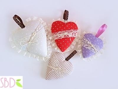 Tutorial: Cuori di Stoffa (no cucito) - Fabric Hearts (no sew)