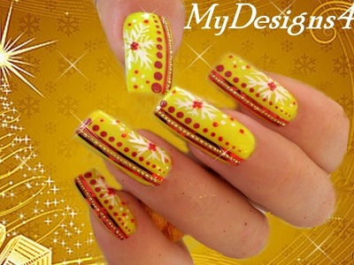 Yellow Christmas Nail Art | How to Snowflake Nails ♥