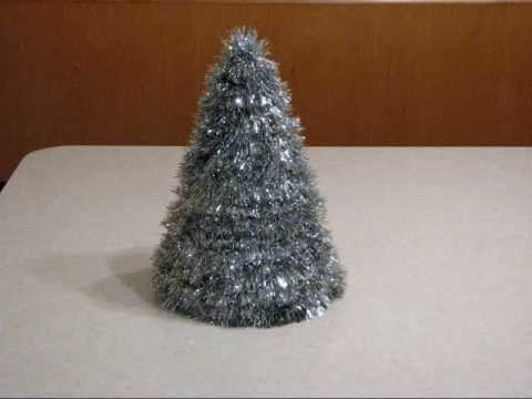 Homemade Table Top Silver Tinsel Christmas Tree
