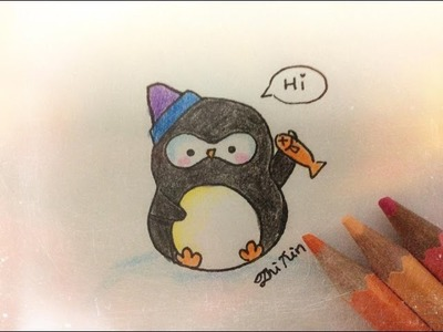 How to draw a cute little baby penguin :)