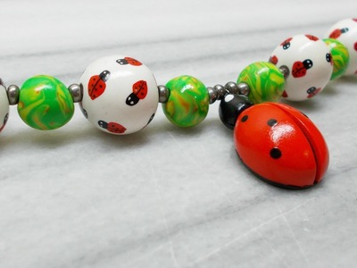 Ladybug Charm Necklace - Polymer Clay tutorial