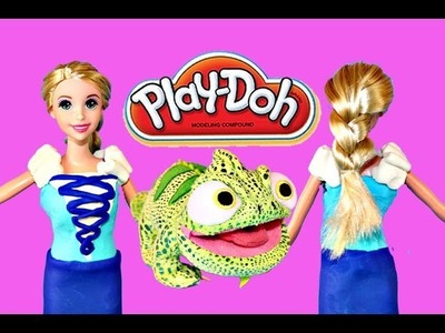 Play Doh Barbie Dress Disney Princess Tangled Rapunzel Barbie Playdough Gown with Play-Doh Plus