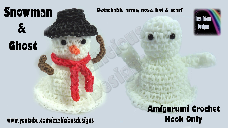 Rainbow Loom (Halloween.Christmas.Xmas) Amigurumi Ghost.Snowman Figure.Charm 1.3 Loomless.Hook only