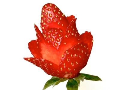 Strawberry Red Rose Is Easy And Simple Flower To Make - Lesson 49 By Mutita Art Of Fruit Carving
