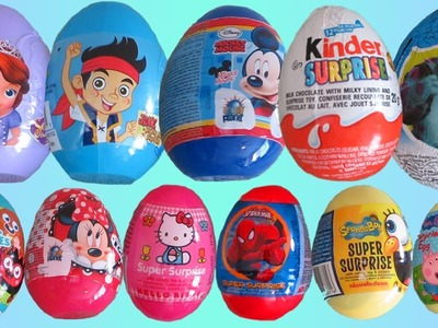24 Surprise Eggs Kinder Surprise Peppa Pig Dora the Explorer Spongebob Disney Mickey Mouse