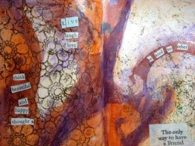 Art journal mixed media - using a 'resist' technique and more