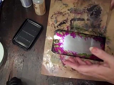 Demo: Metal tag art using alcohol ink & stamps